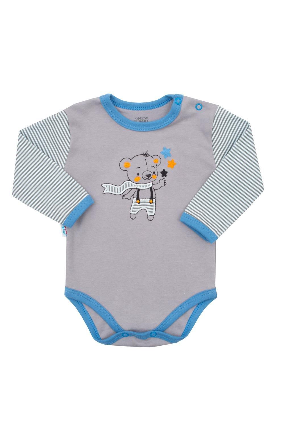 Dojčenské bavlnené body s dlhým rukávom New Baby Lucky Bear