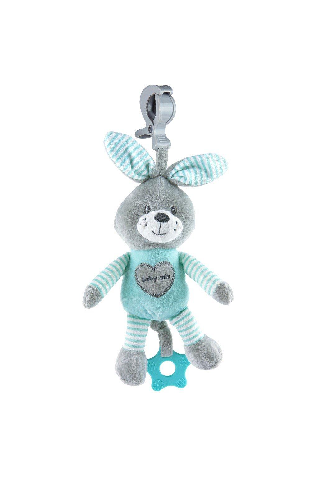 Edukačná hrajúca plyšová hračka s klipom Baby Mix králik modrý