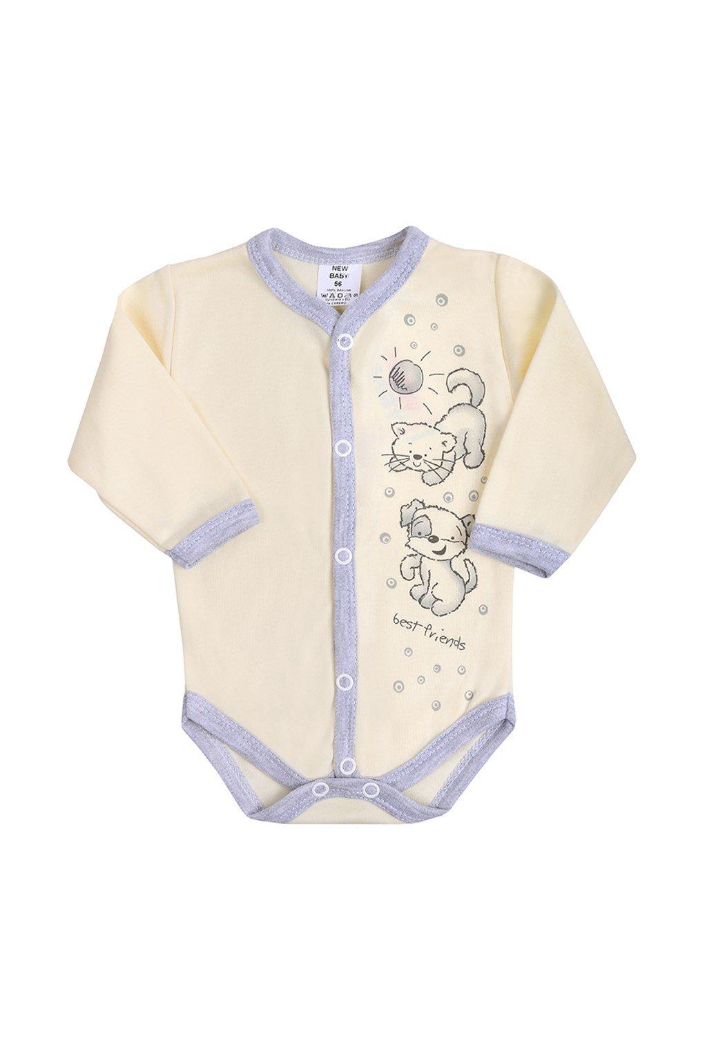 Dojčenské body celorozopínacie New Baby Kamaráti smotanové