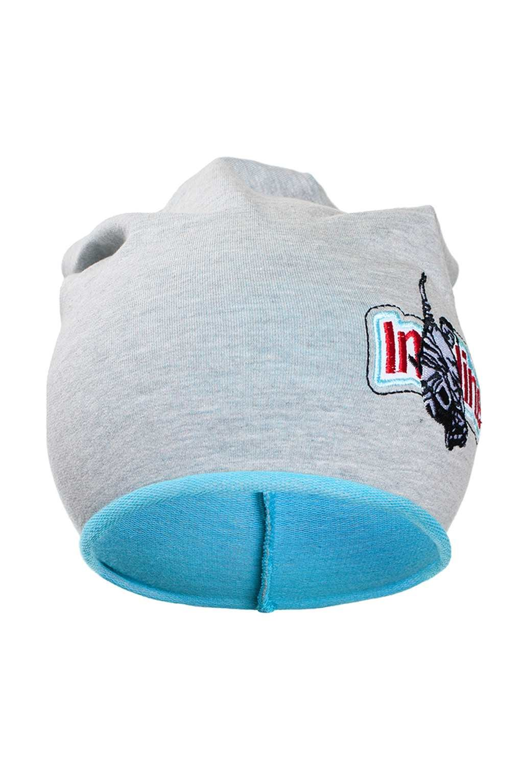 Jesenná detská čiapočka New Baby In-line sivo-tyrkysová