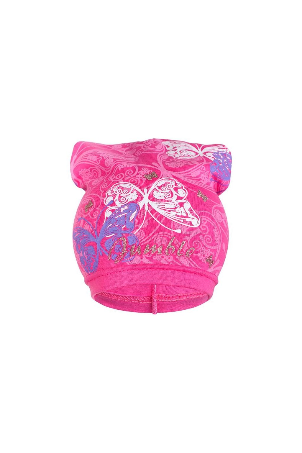 Jarná detská čiapočka New Baby motýlikovia tmavo ružová