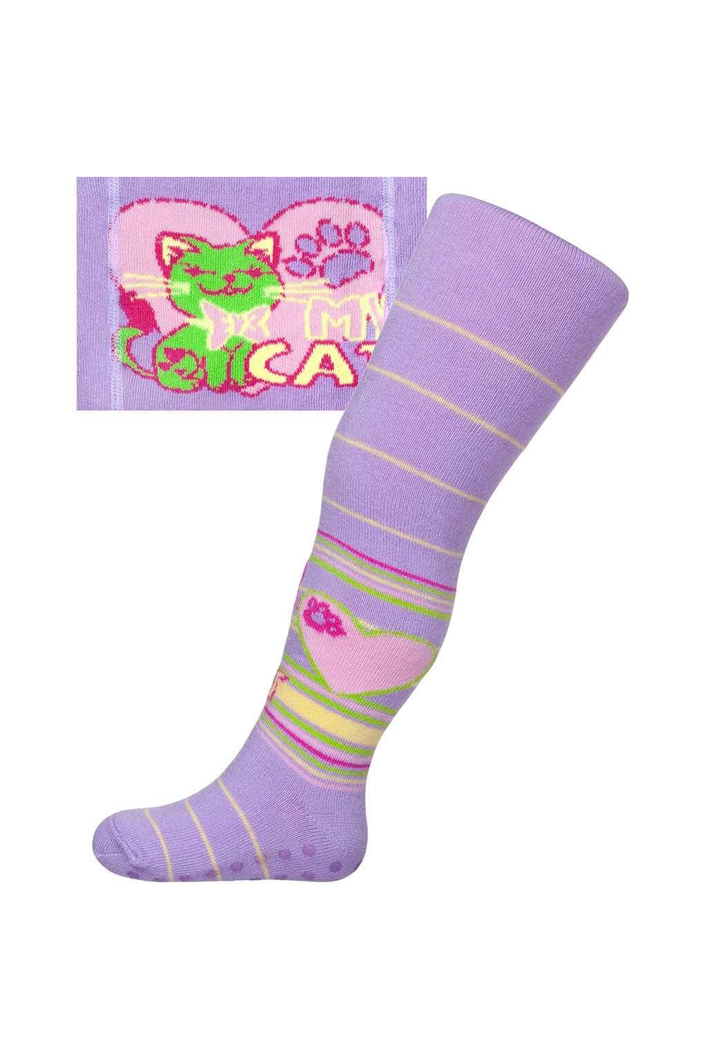 Bavlnené pančucháčky New Baby s ABS fialové my cat