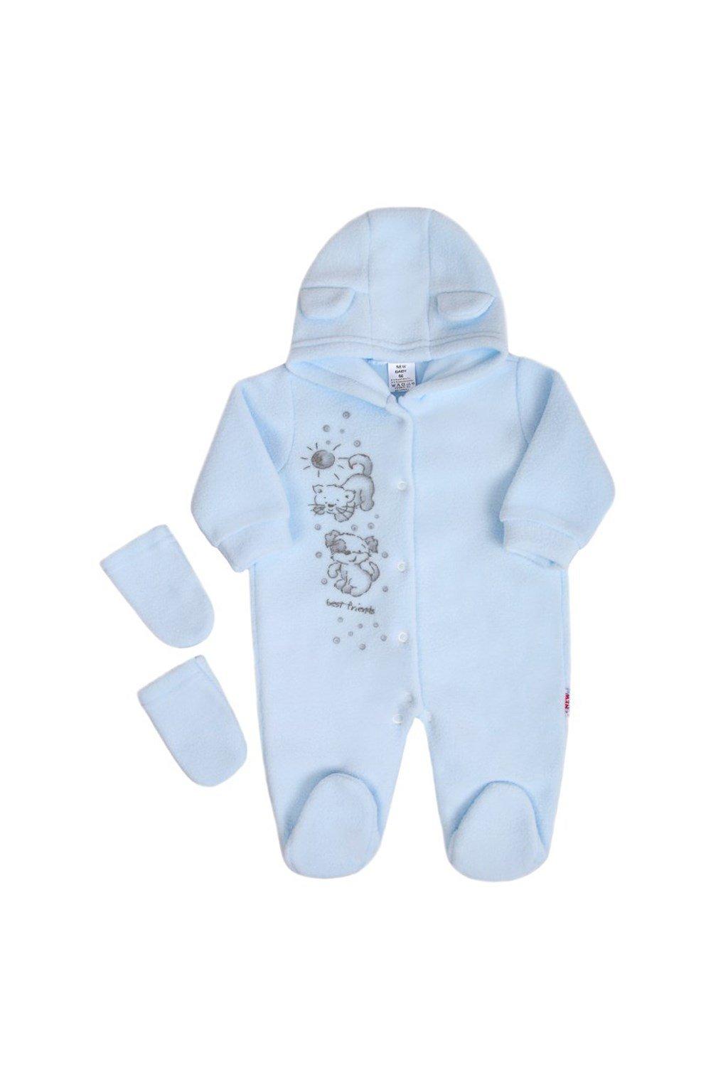 Fleecový overal New Baby Kamaráti modrý