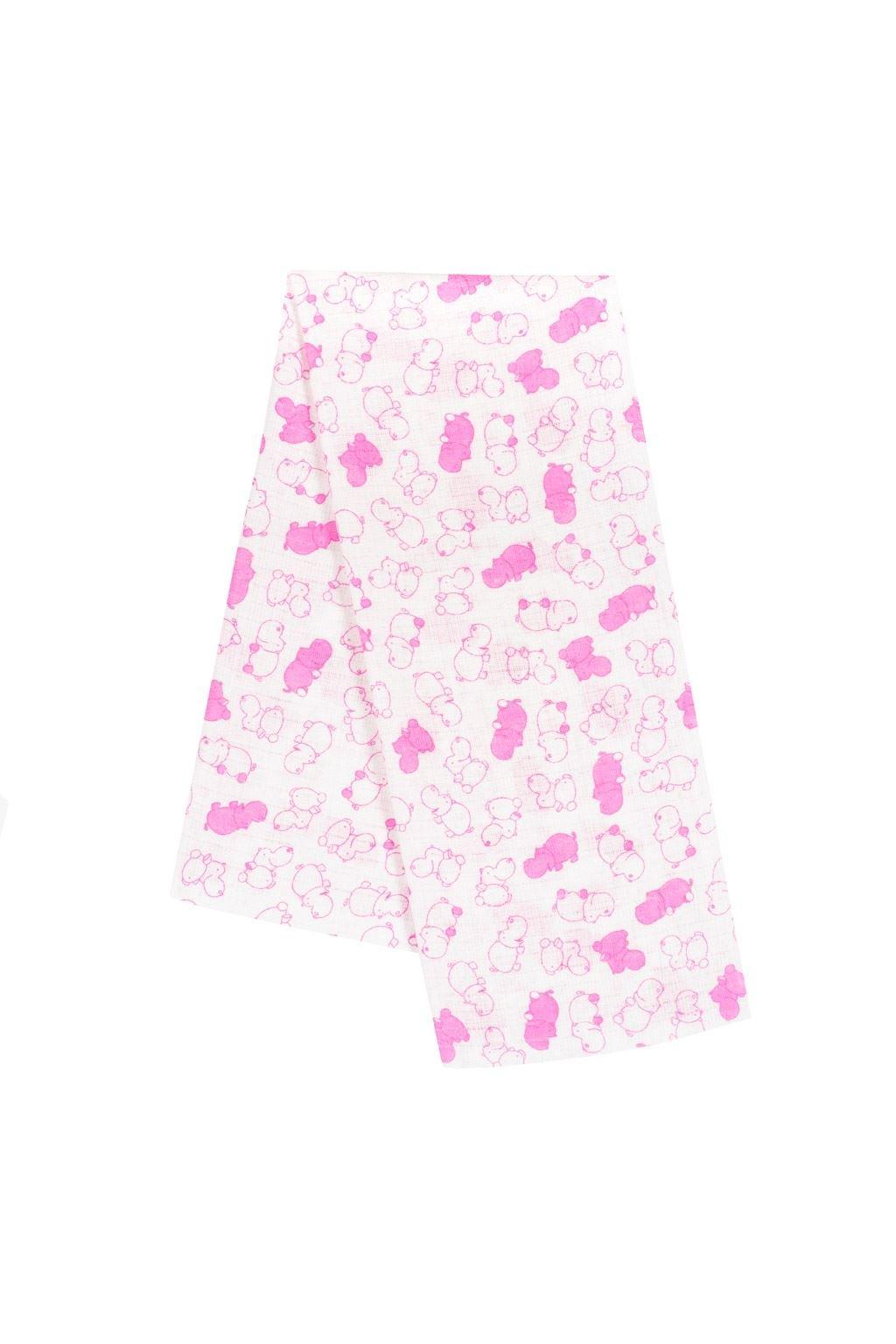 Bavlnená plienka s potlačou New Baby biela s růžovými hrošíkmi