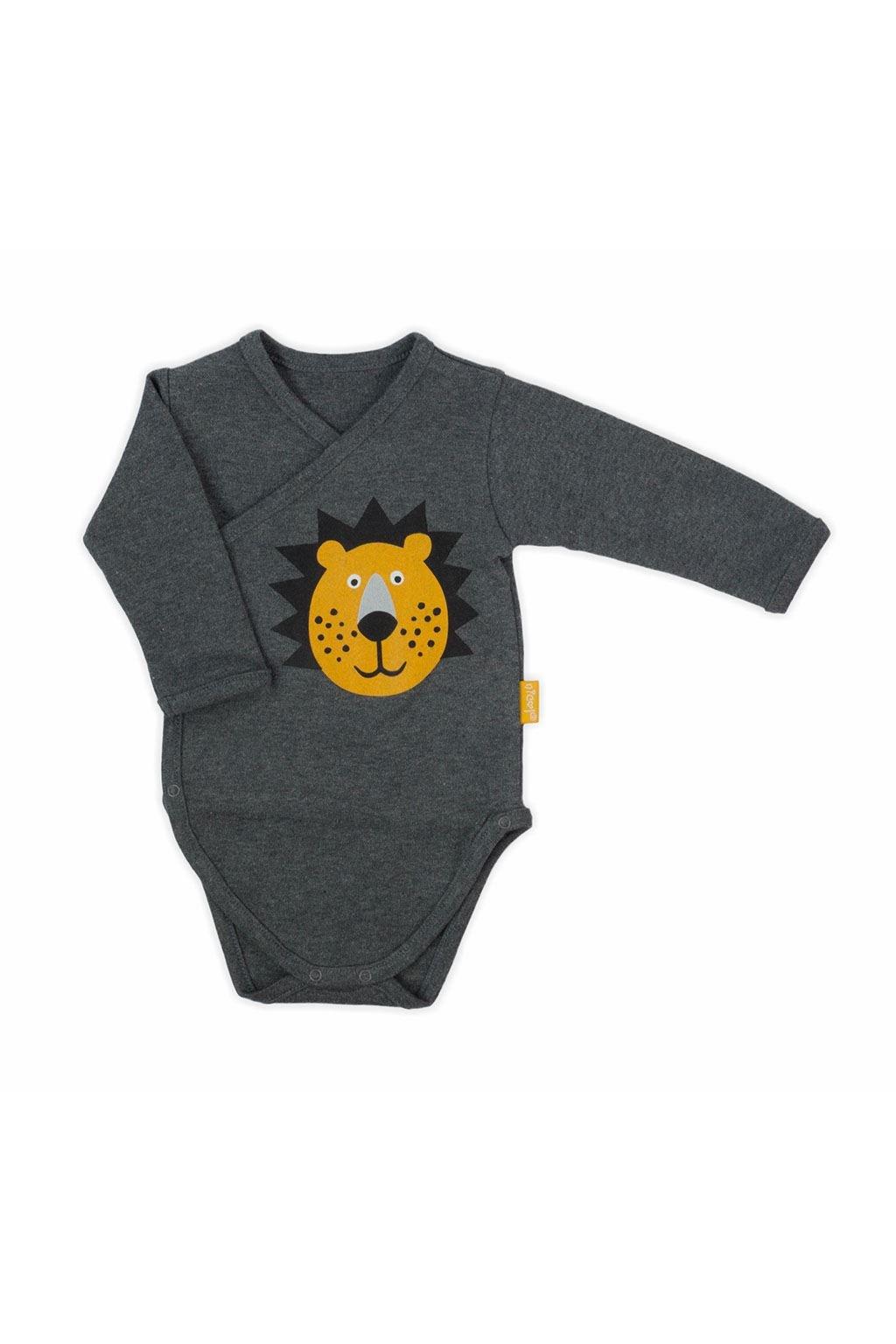 Dojčenské bavlnené celorozopínacie body Nicol Prince Lion sivé