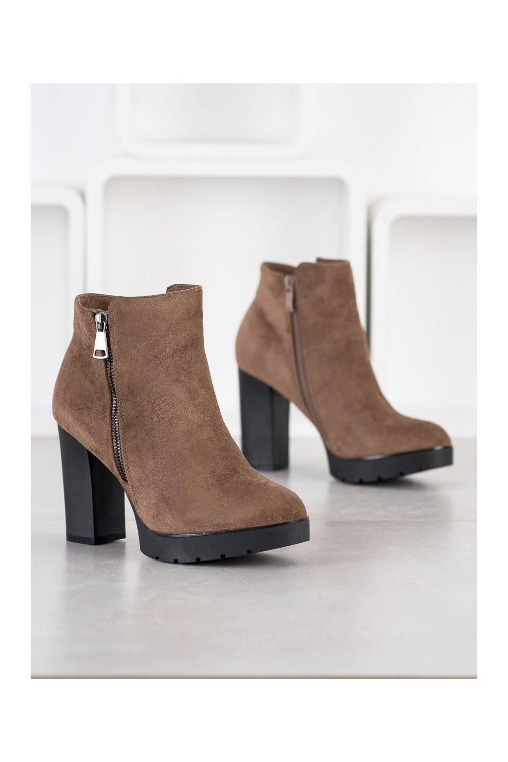 Hnedé dámske topánky Small swan NJSK A203KH