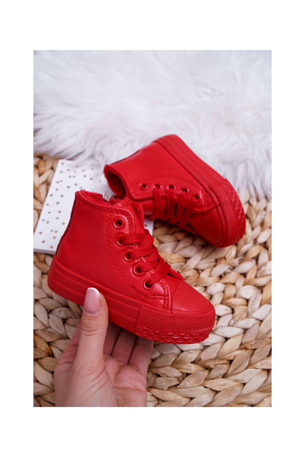 Detské červené tenisky zateplené vysoké Filemon NJSK 80091-1B/2B RED