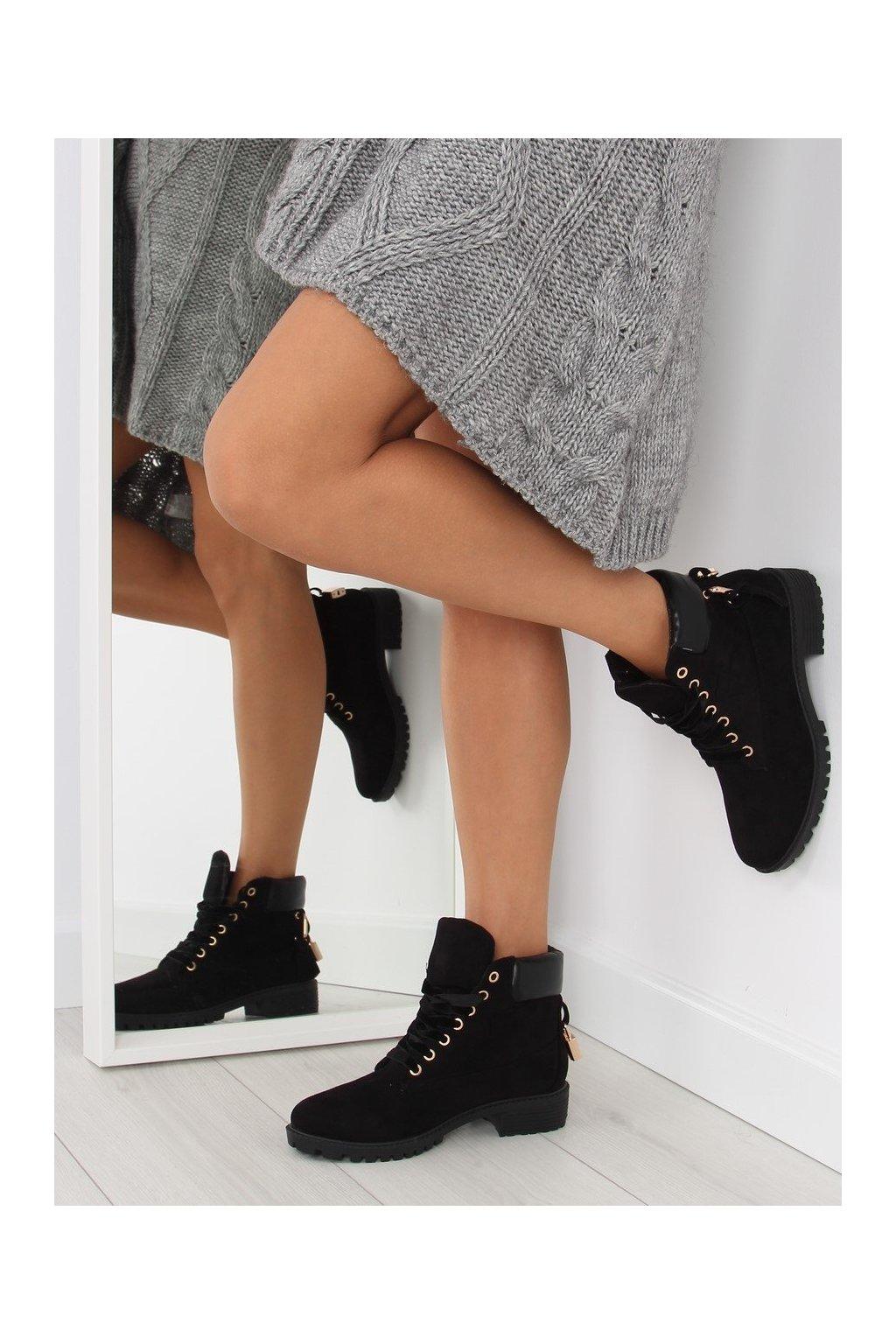 Dámske topánky na zimu čierne AT-0623-L