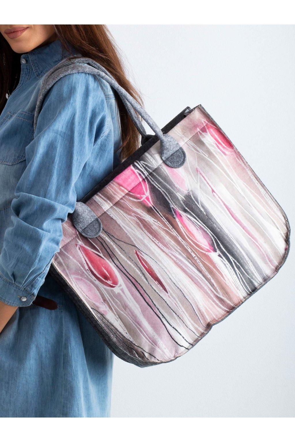 Shopper kabelka sivo-ružová kód CE-TR-093.85P/LadyTULIPANY