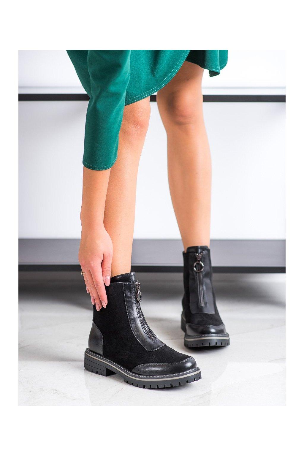 Čierne dámske topánky J. star NJSK 20Y8135B