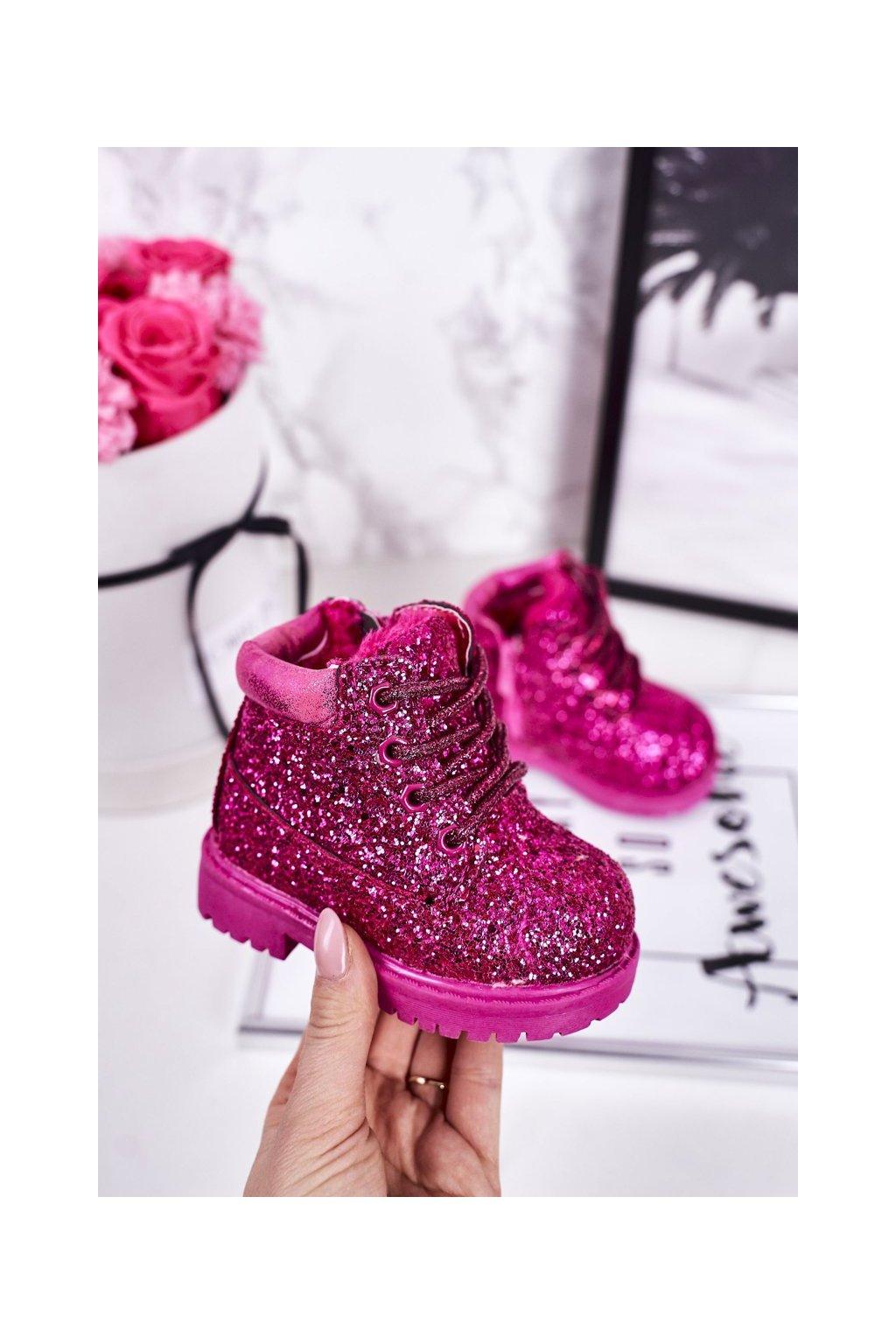 Detské členkové topánky farba ružová NJSK 20307-1C/2C PEACH