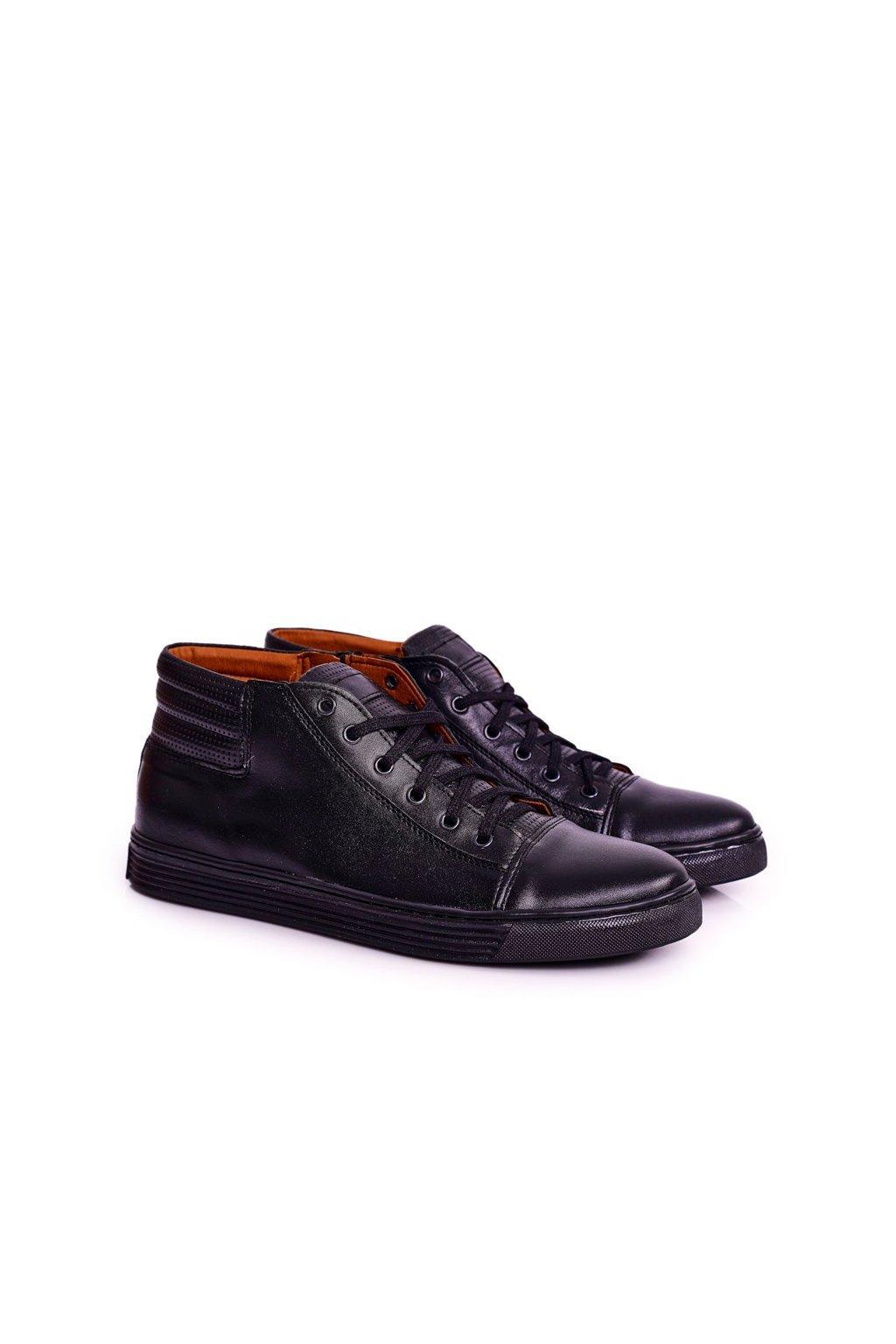 Pánske poltopánky farba čierna kód obuvi 304S BLACK