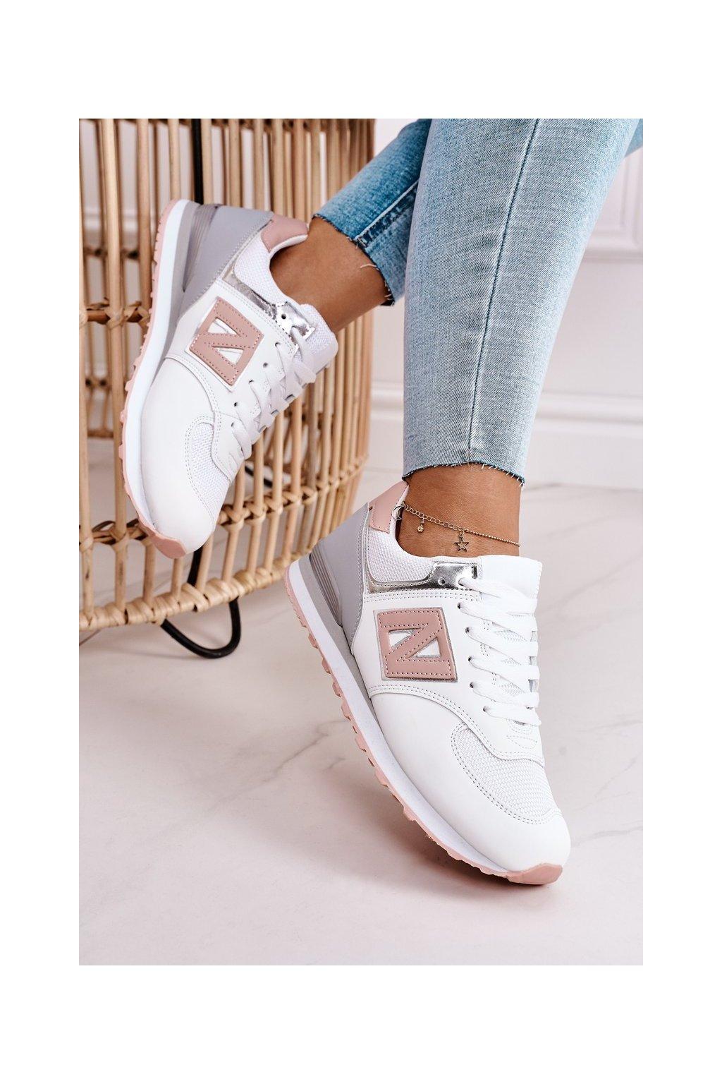 Dámske tenisky farba ružová kód obuvi AB772 WHITE/PINK