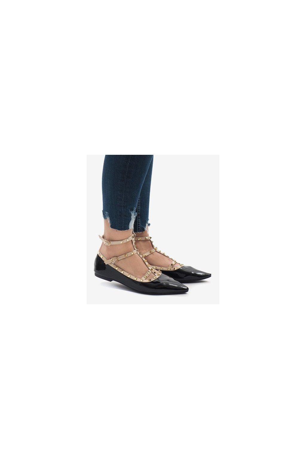 Dámske topánky baleríny čierne NJSK kód 127-12 Black