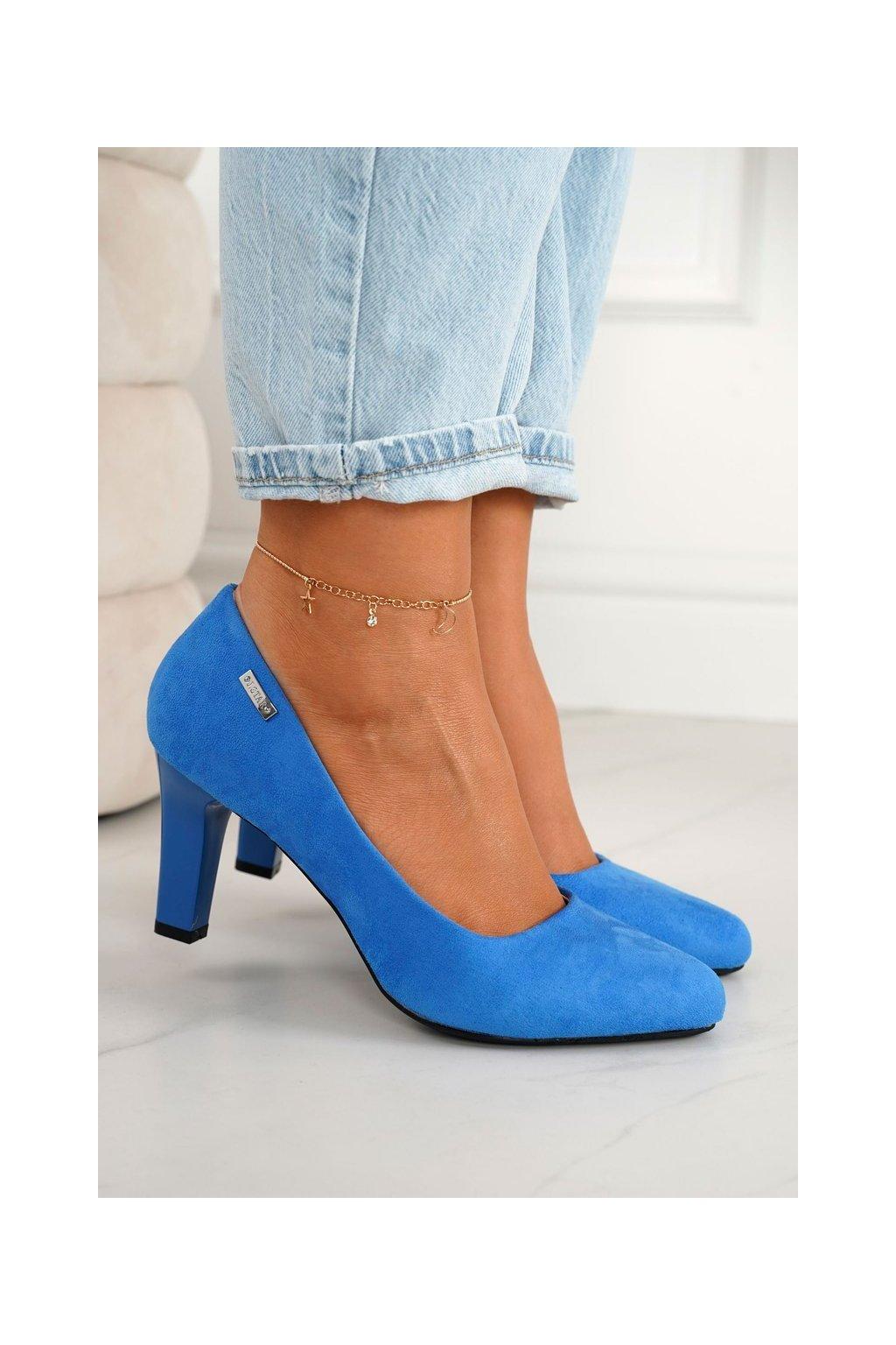 Dámske lodičky farba modrá kód obuvi S9100-66 B.BLUE