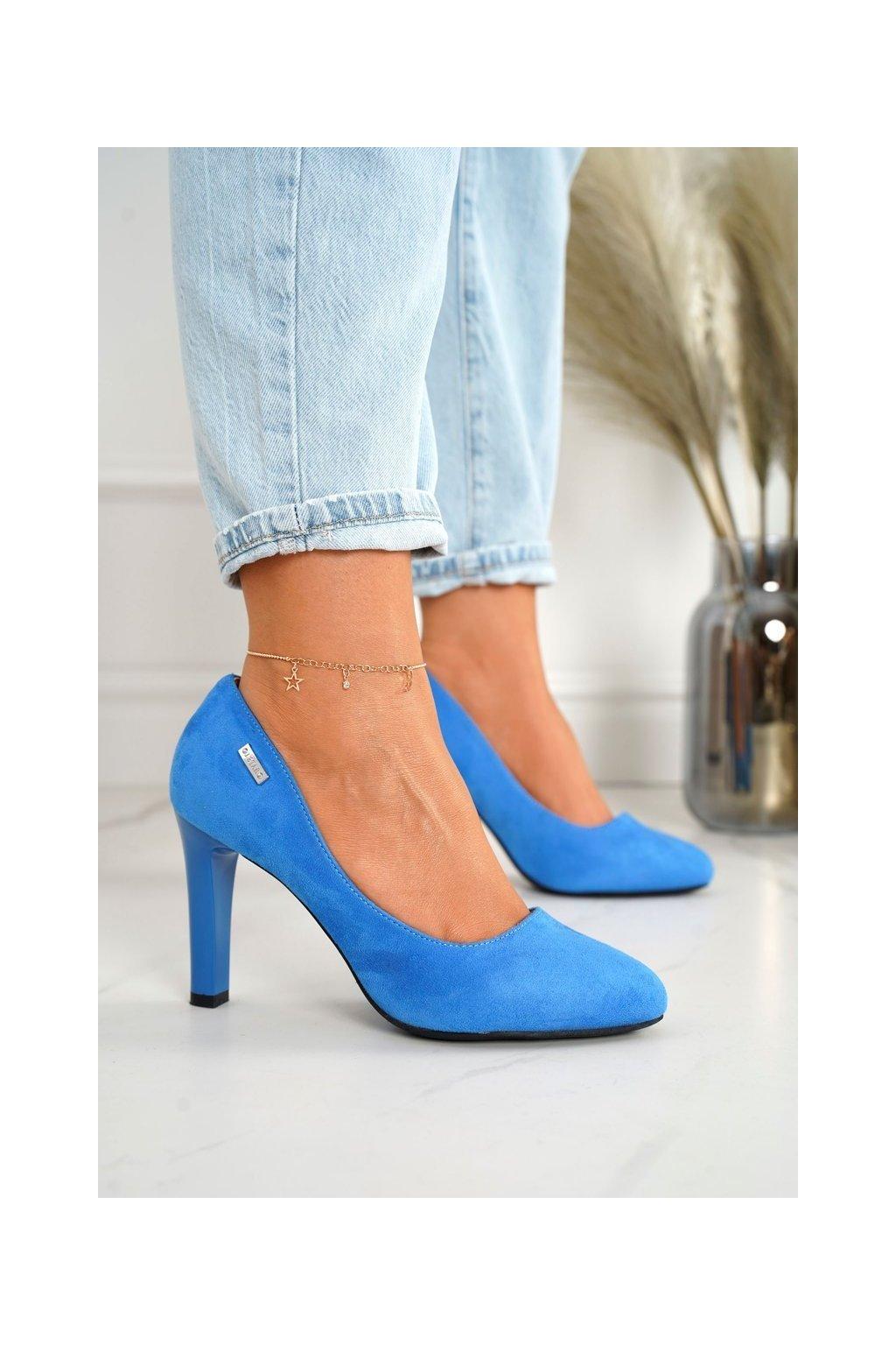 Dámske lodičky farba modrá kód obuvi S9101-66 B.BLUE