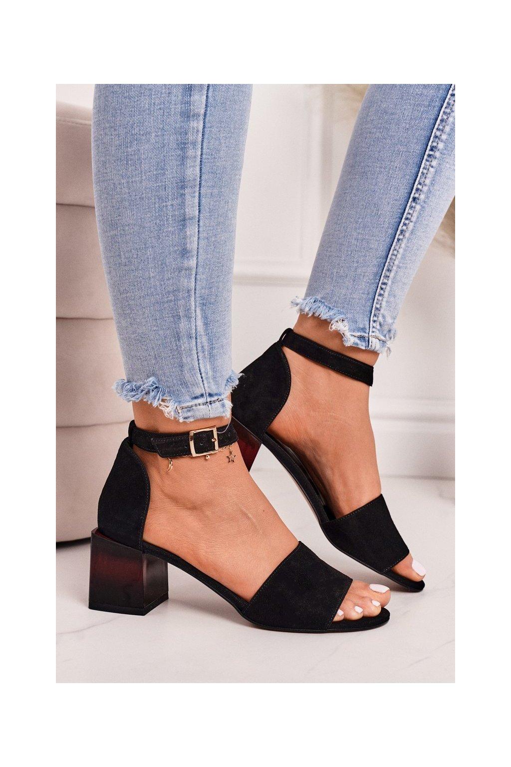 Dámske sandále na podpätku farba čierna kód obuvi 2285 300 BLACK