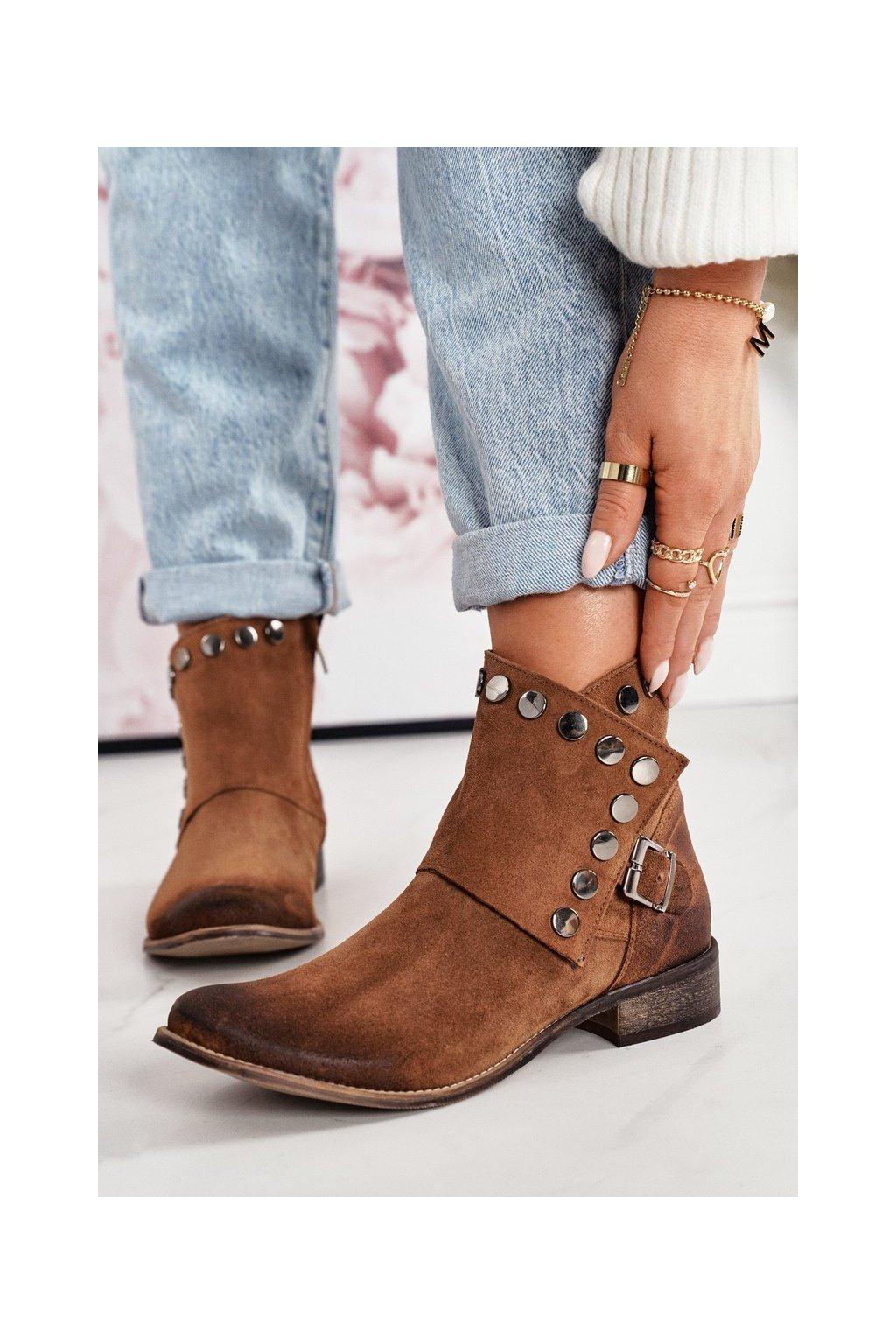 Členkové topánky na podpätku farba hnedá kód obuvi 1198 KONIAK.WELUR
