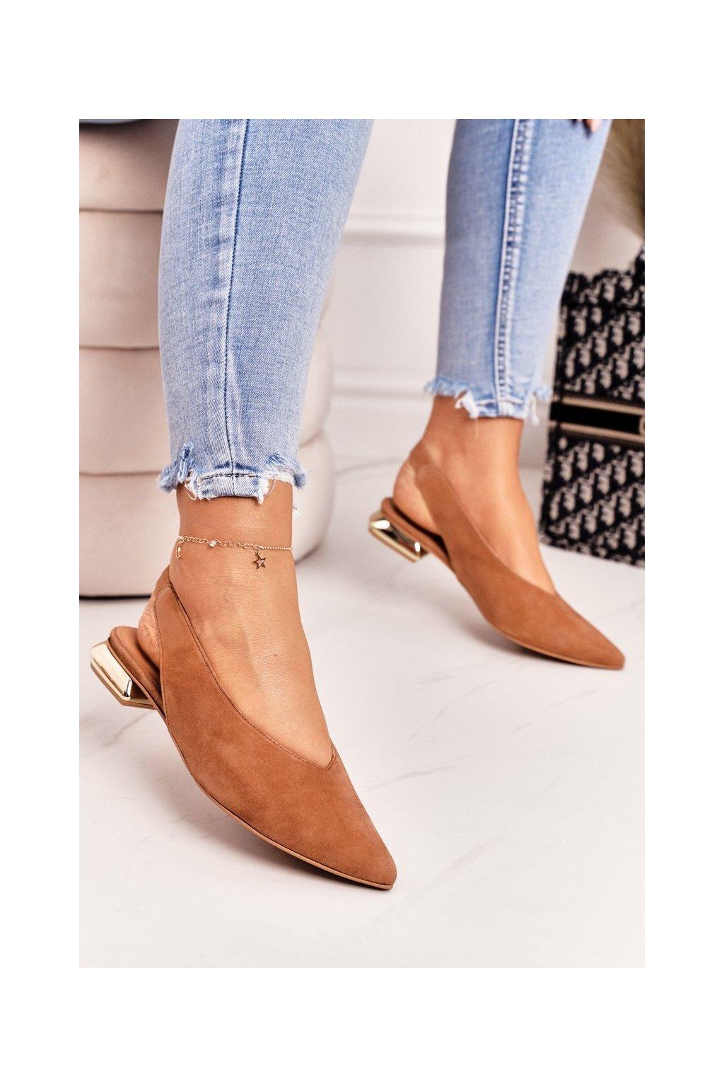 Dámske balerínky farba hnedá kód obuvi 2127 255 CAMEL