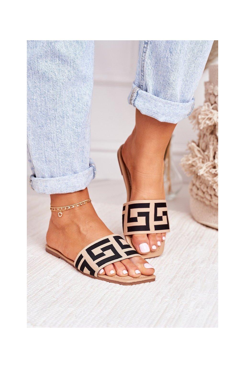 Dámske šľapky farba hnedá kód obuvi 323 BEIGE
