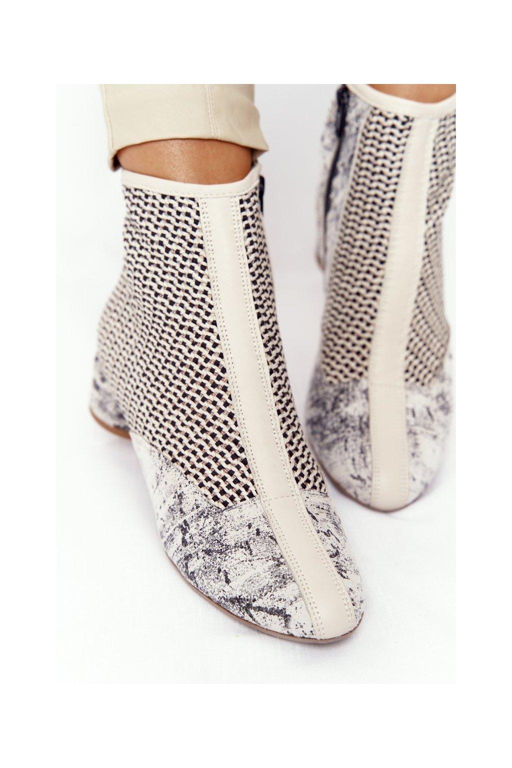 Členkové topánky na podpätku farba hnedá kód obuvi 04937-03/00-5 POPIEL
