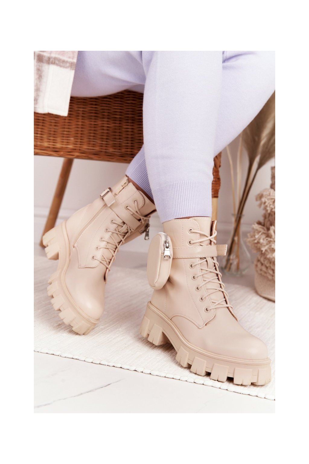 Členkové topánky na podpätku farba hnedá kód obuvi NC1132 BEIGE