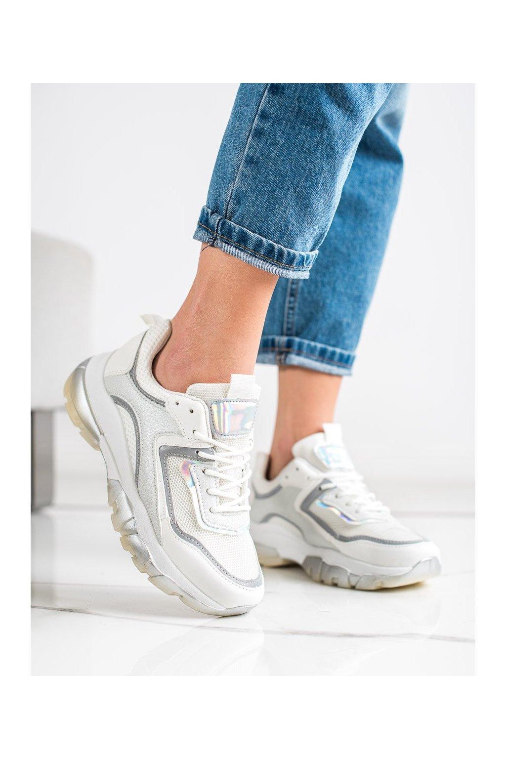 Biele tenisky Ideal shoes kod 9796W