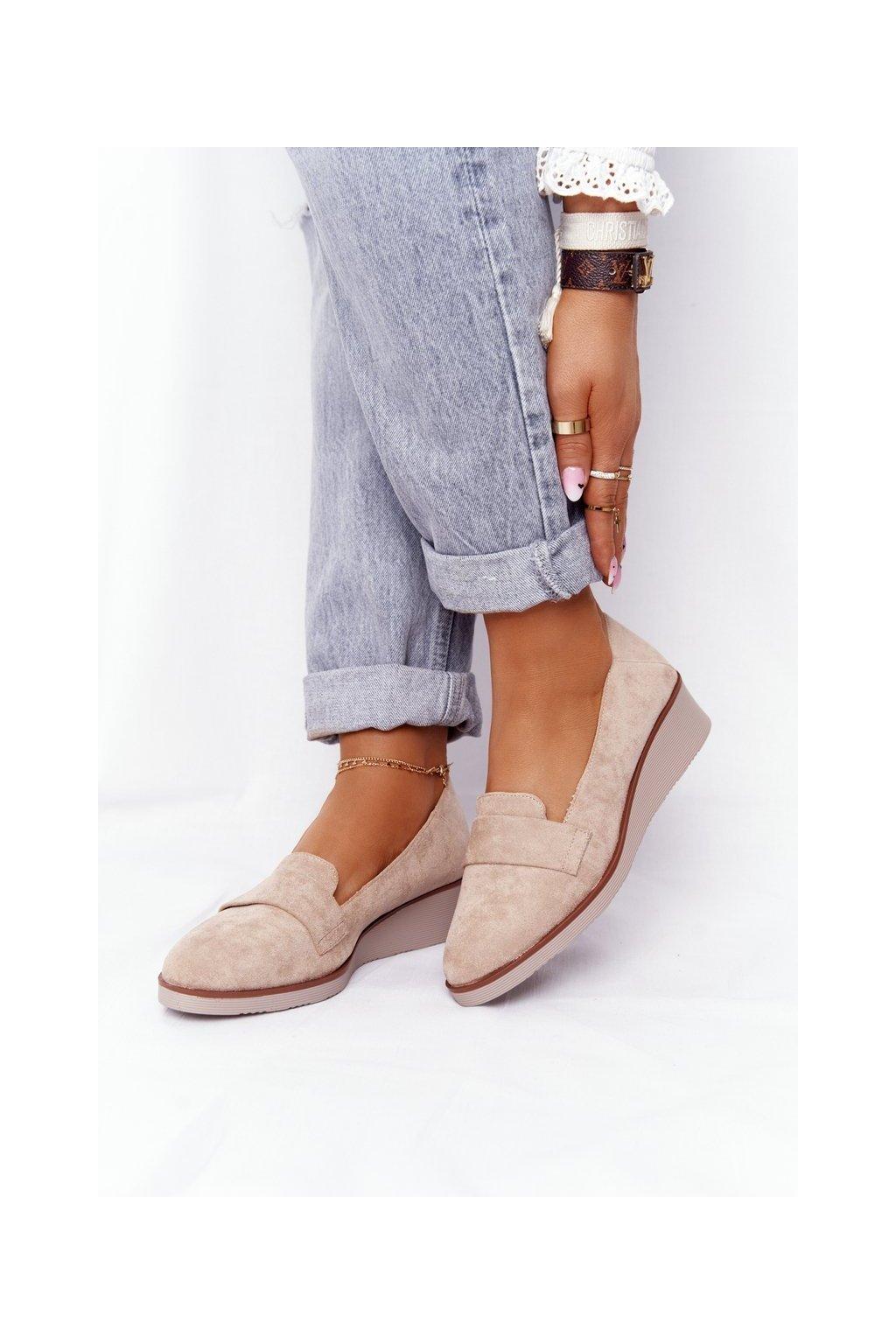 Dámske poltopánky farba hnedá kód obuvi 21-10599 BEIGE