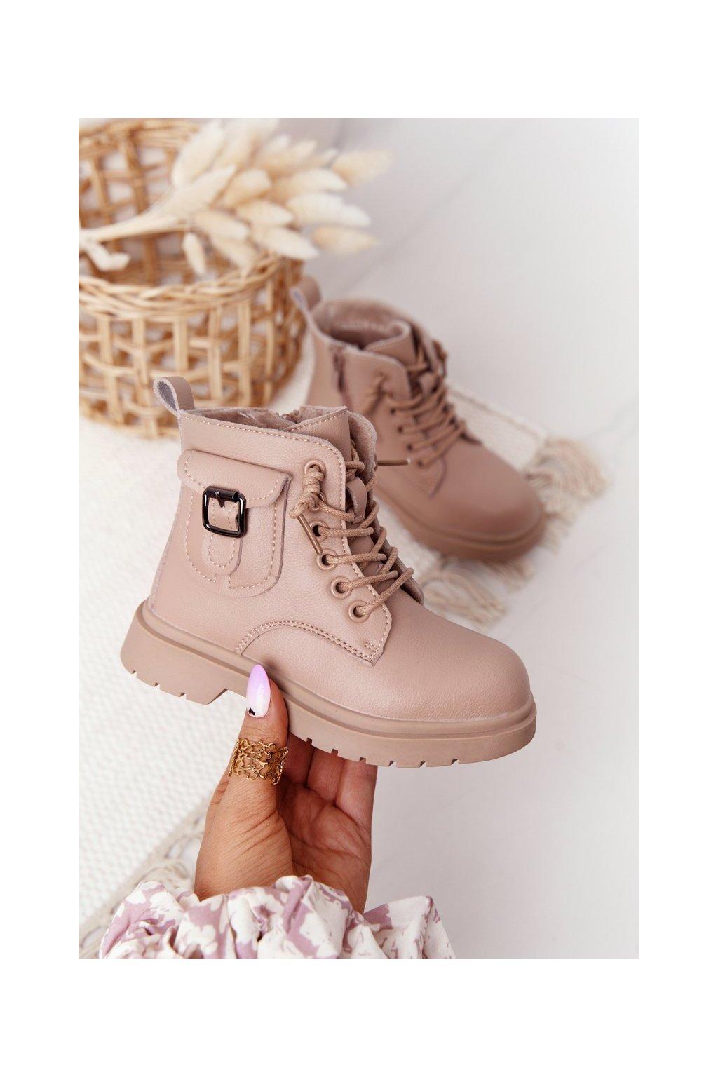 Detské členkové topánky farba hnedá kód obuvi NQ76 NQ77 BEIGE