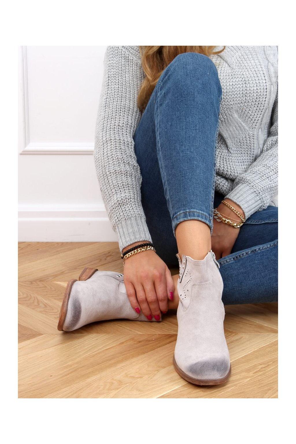 Dámske členkové topánky sivé na platforme NC1126