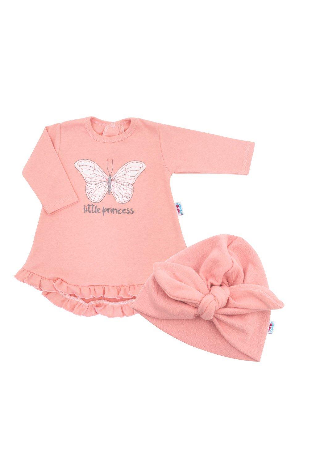 Dojčenské šatôčky s čiapočkou-turban New Baby Little Princess ružové NJSK 43961
