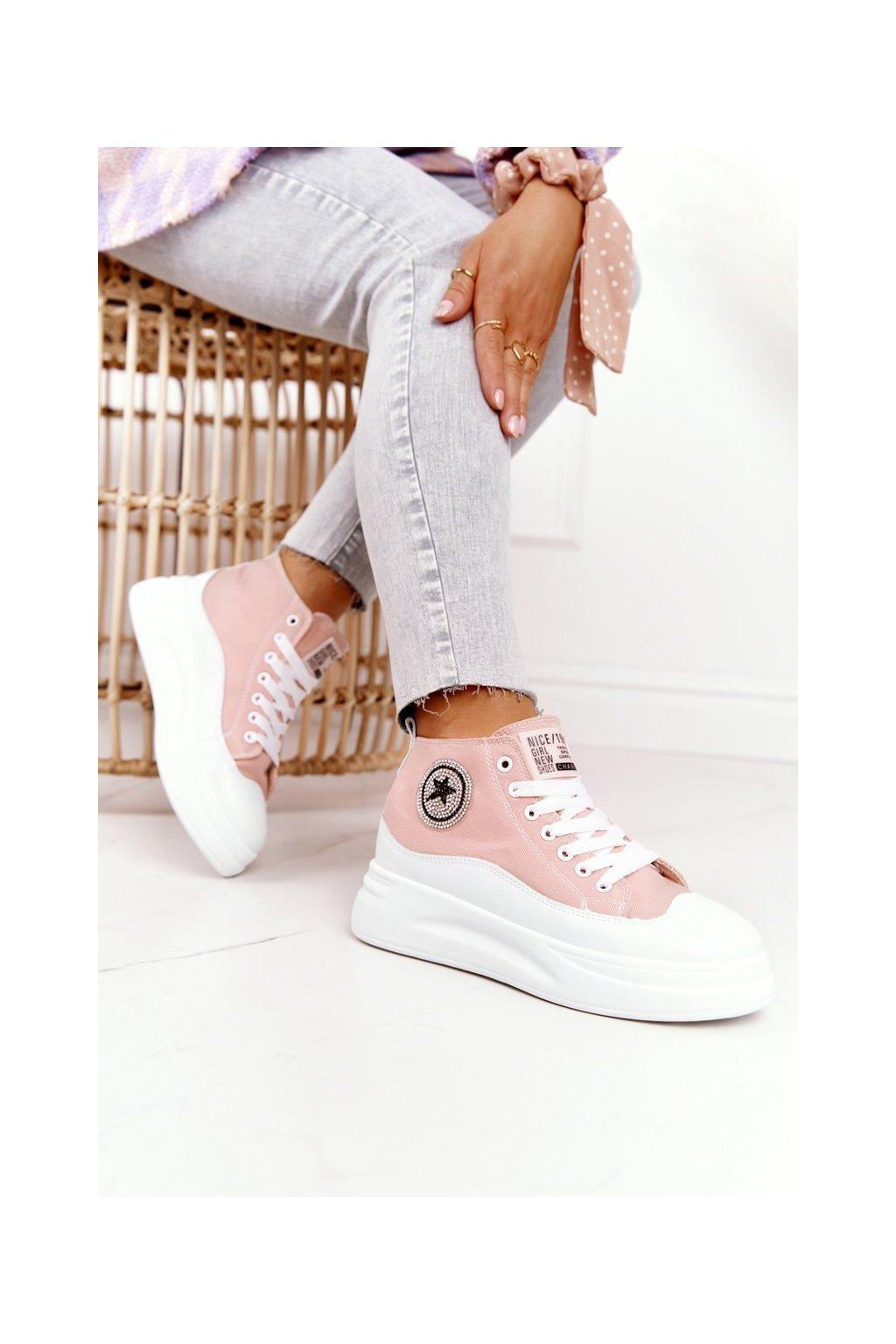 Dámske tenisky farba ružová kód obuvi SJ2068-3 PINK