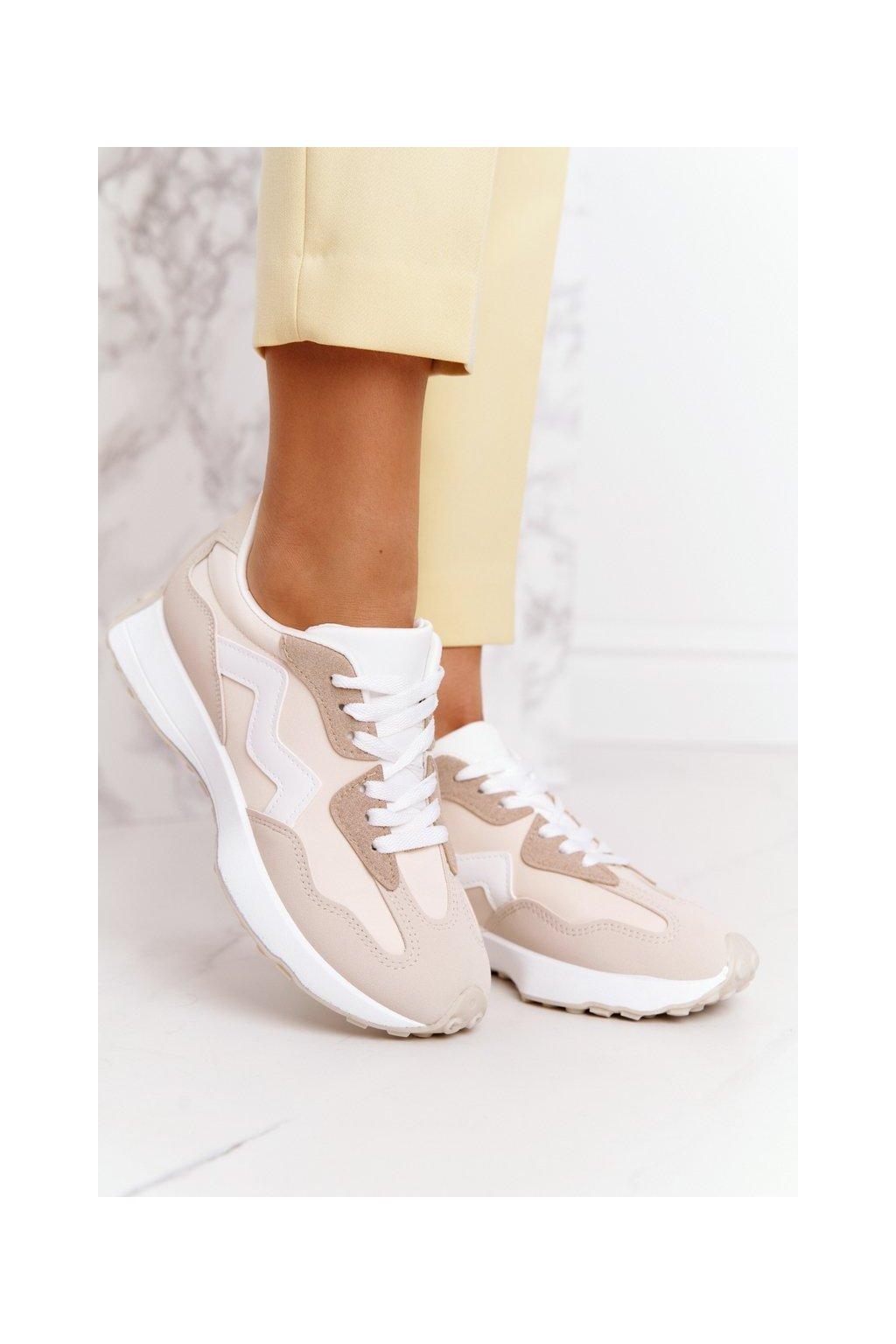 Dámske tenisky farba hnedá kód obuvi BL208P BEIGE