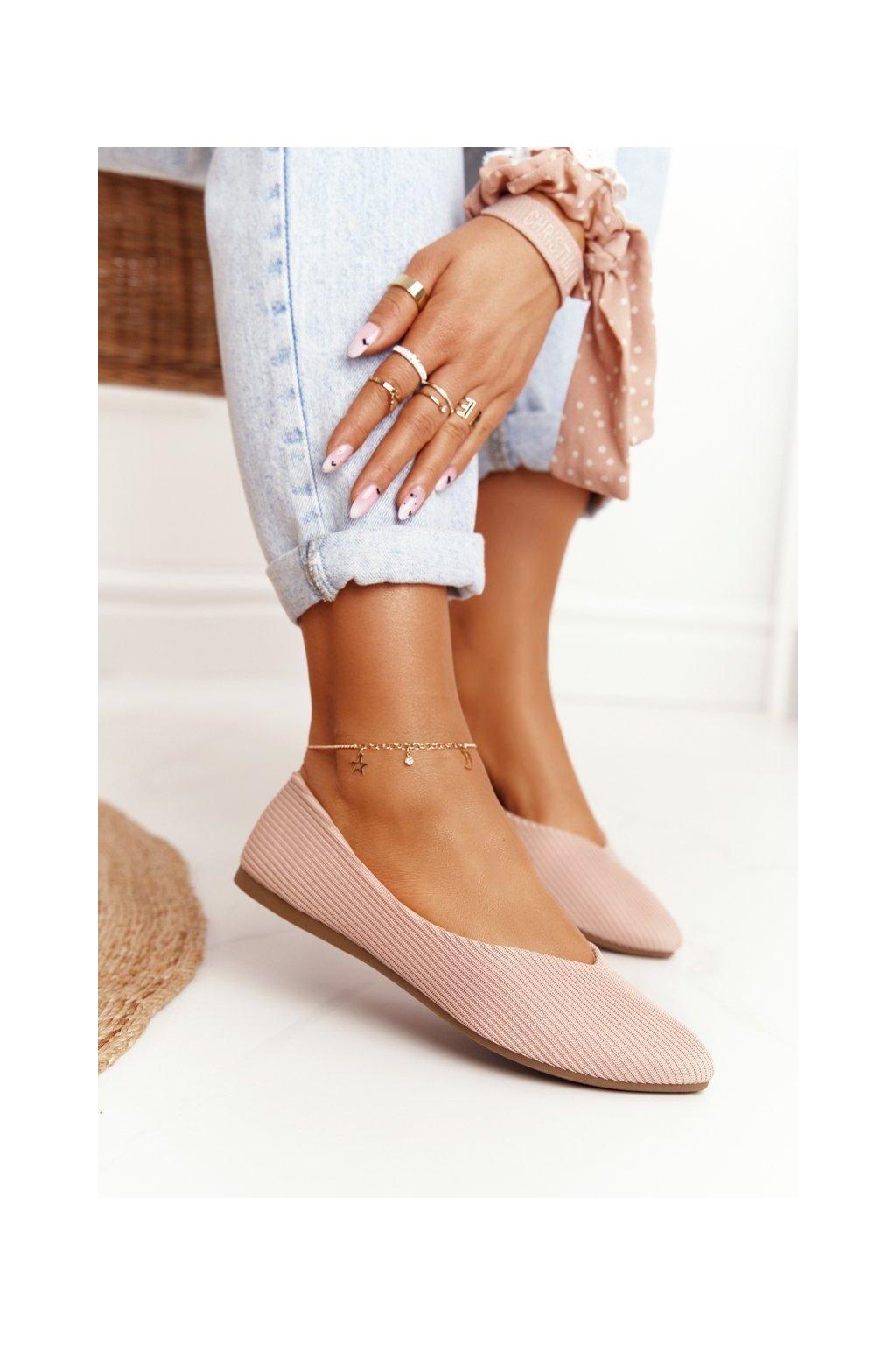 Dámske balerínky farba ružová kód obuvi 21-2187 PINK