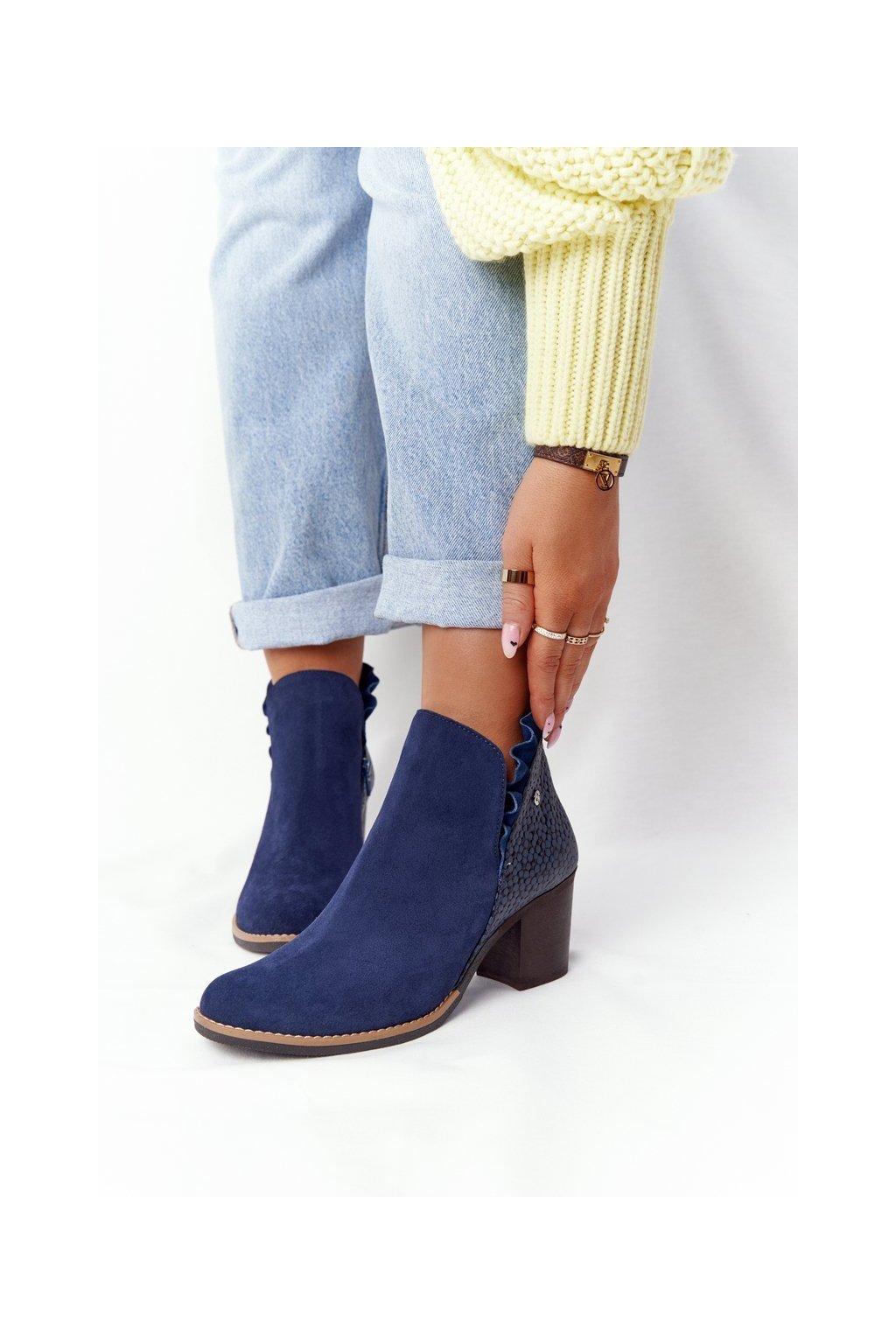 Členkové topánky na podpätku farba modrá kód obuvi 04833-17/00-5 GRANAT