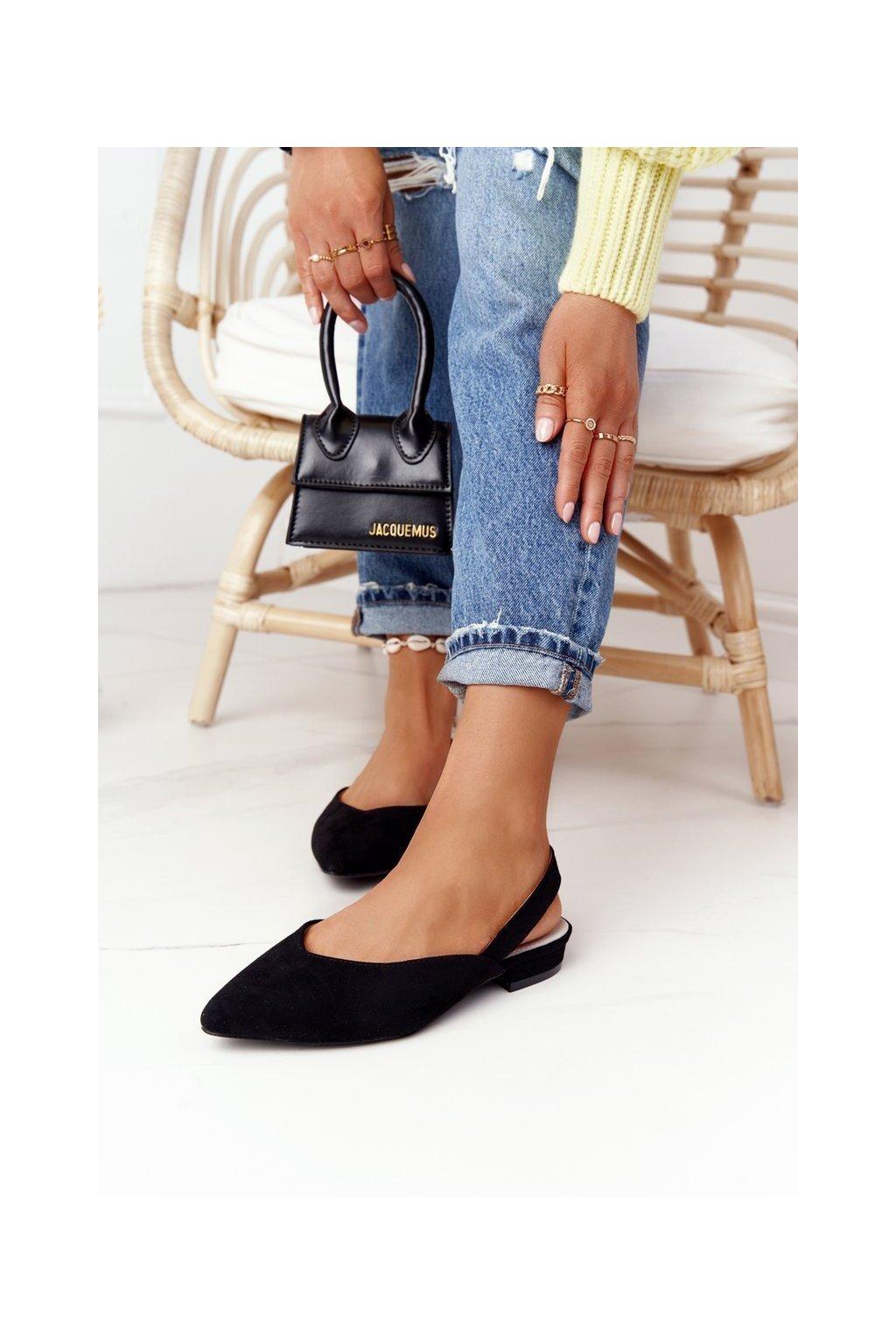 Dámske balerínky farba čierna kód obuvi 1481-3 BLK
