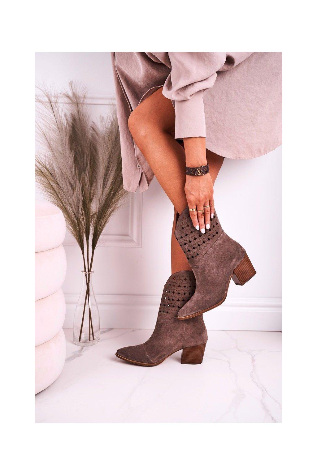 Členkové topánky na podpätku farba hnedá NJSK 2611/032 BROWN
