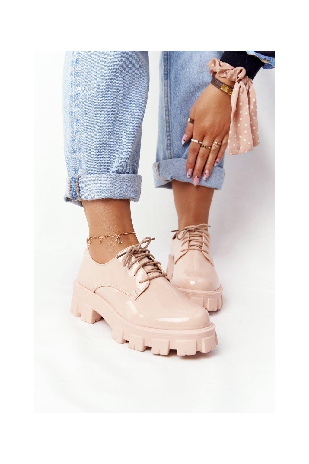 Dámske poltopánky farba ružová kód obuvi NC1121 BEIGE