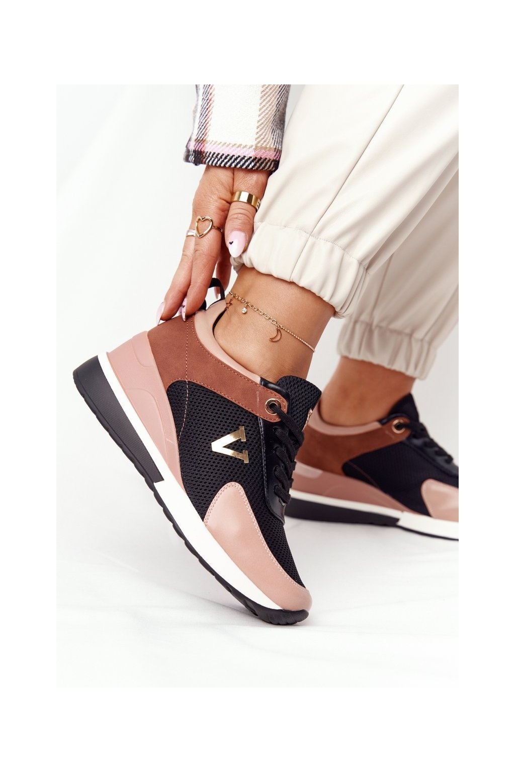 Dámske tenisky farba čierna kód obuvi 21-10590 PINK/BLK