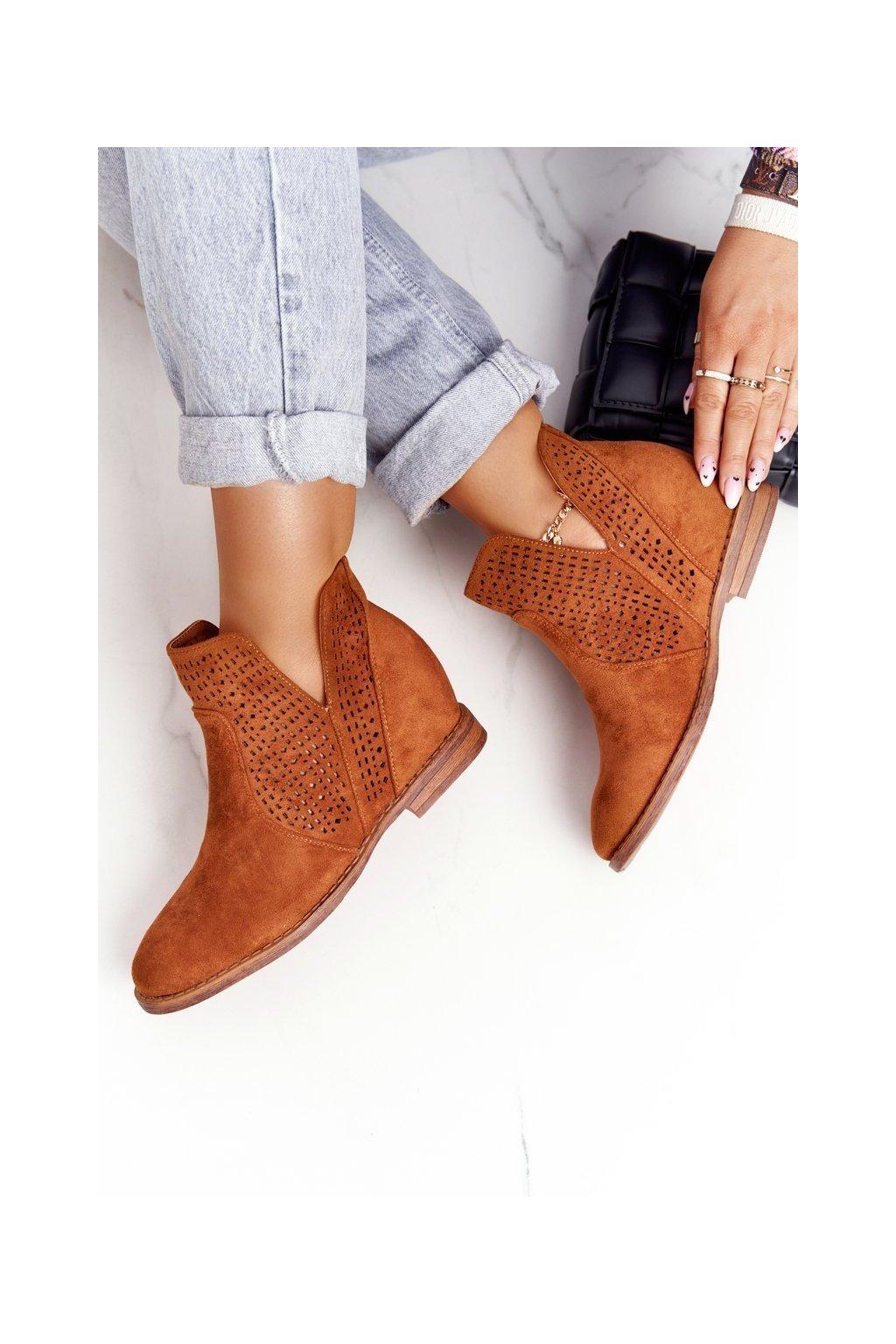 Členkové topánky na podpätku farba hnedá kód obuvi 208-1 CAMEL