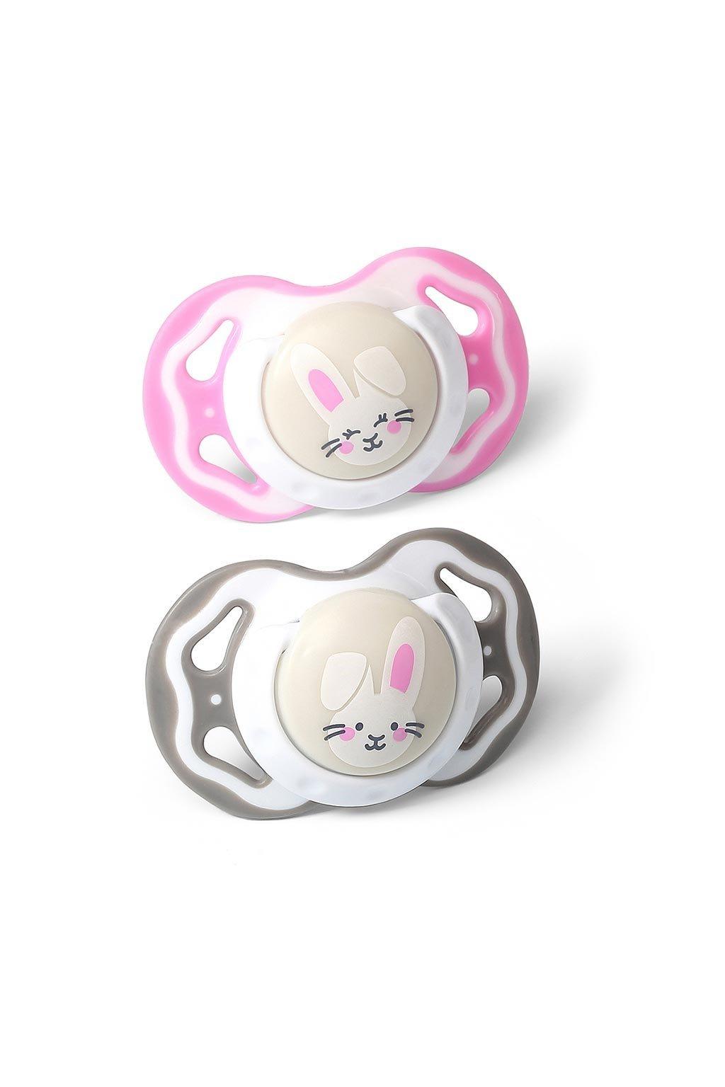 Symetrický cumlík Baby Ono 3-6m 2ks sivý a ružový