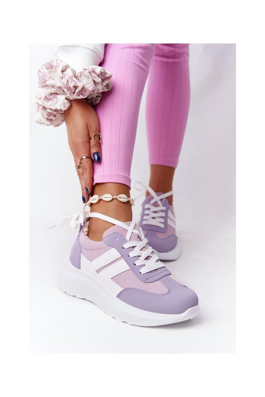Dámske tenisky farba biela kód obuvi LA130P PURPLE