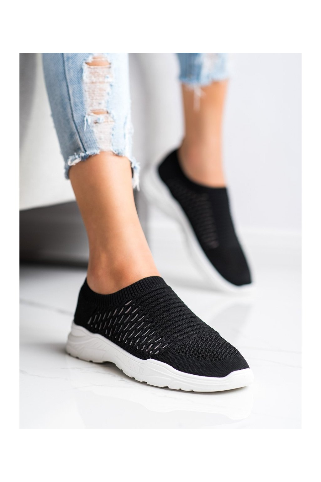 Čierne tenisky Ideal shoes kod 9862B/W