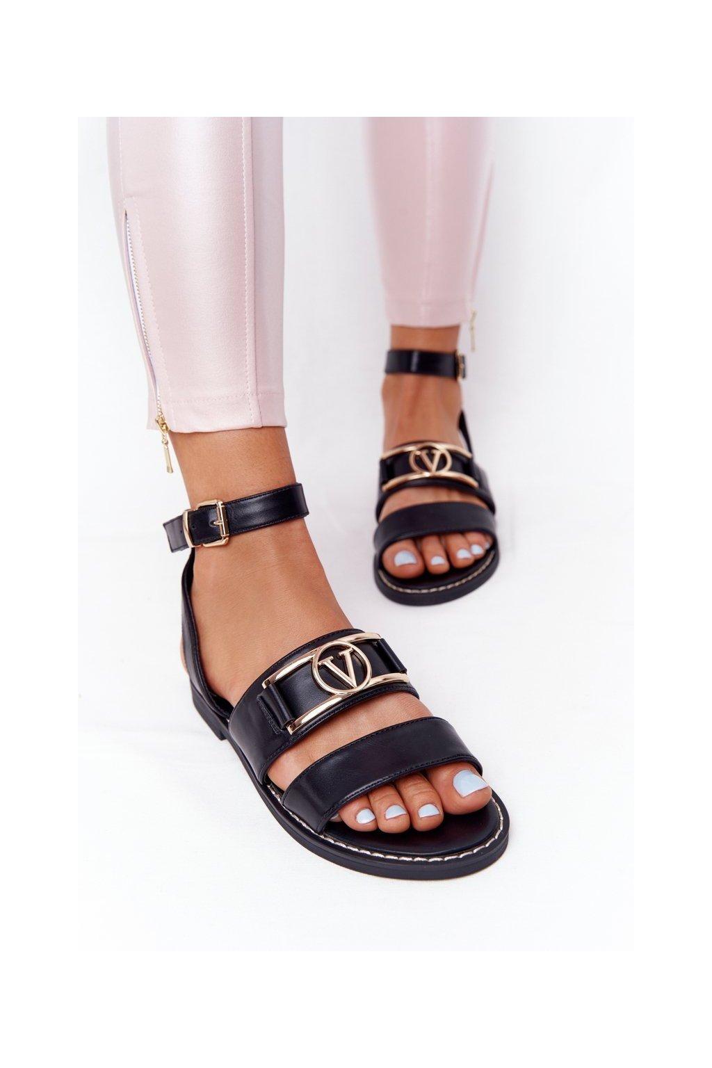 Dámske ploché sandále farba čierna kód obuvi NS188 BLACK
