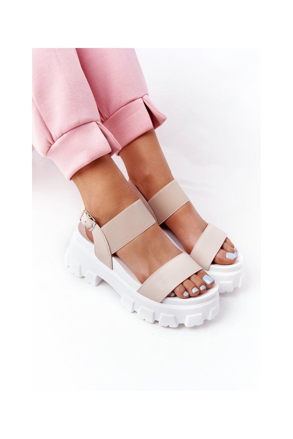 Dámske ploché sandále farba hnedá kód obuvi NS192 BEIGE