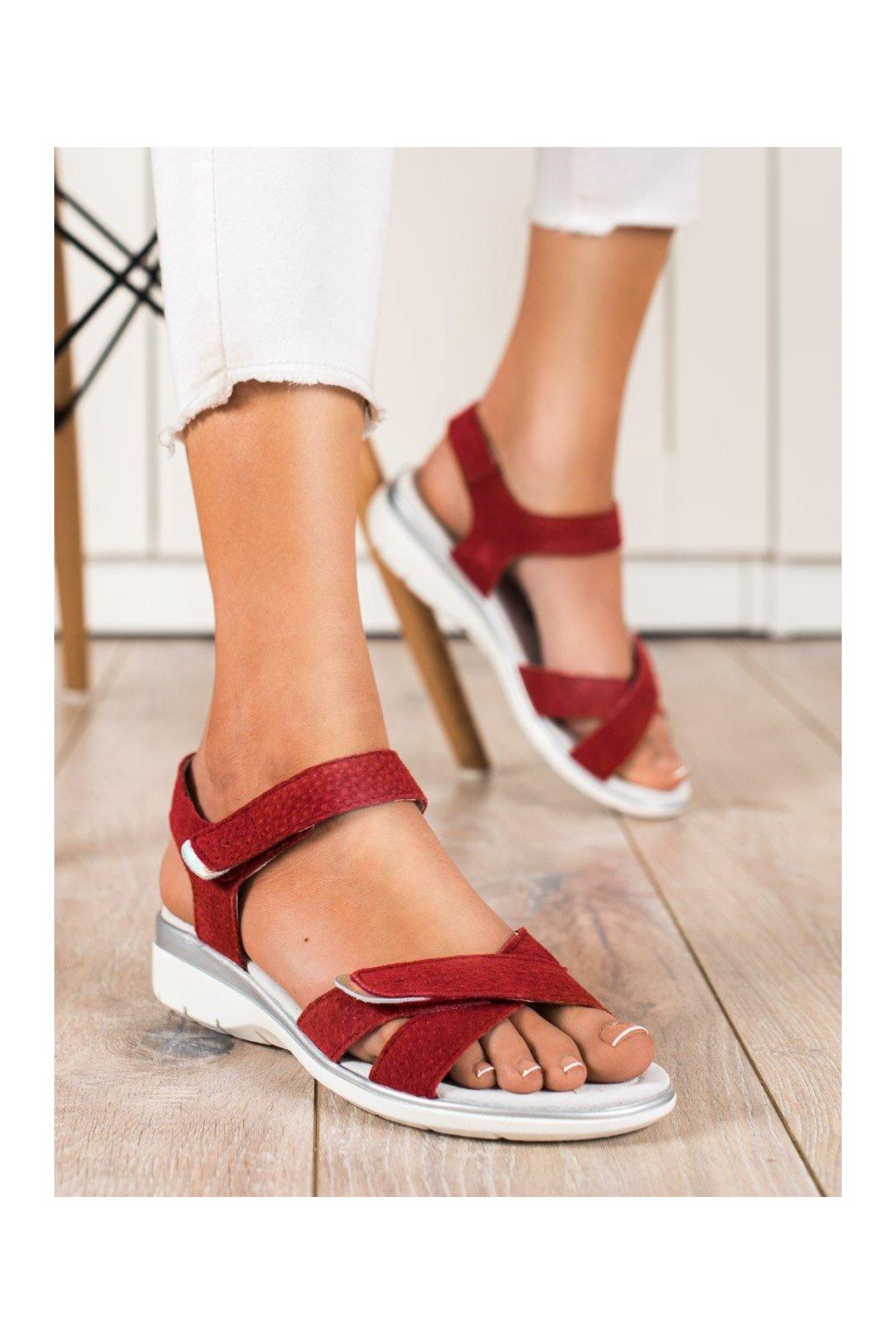 Červené sandále s plochou podrážkou Vinceza kod SG20-7768R