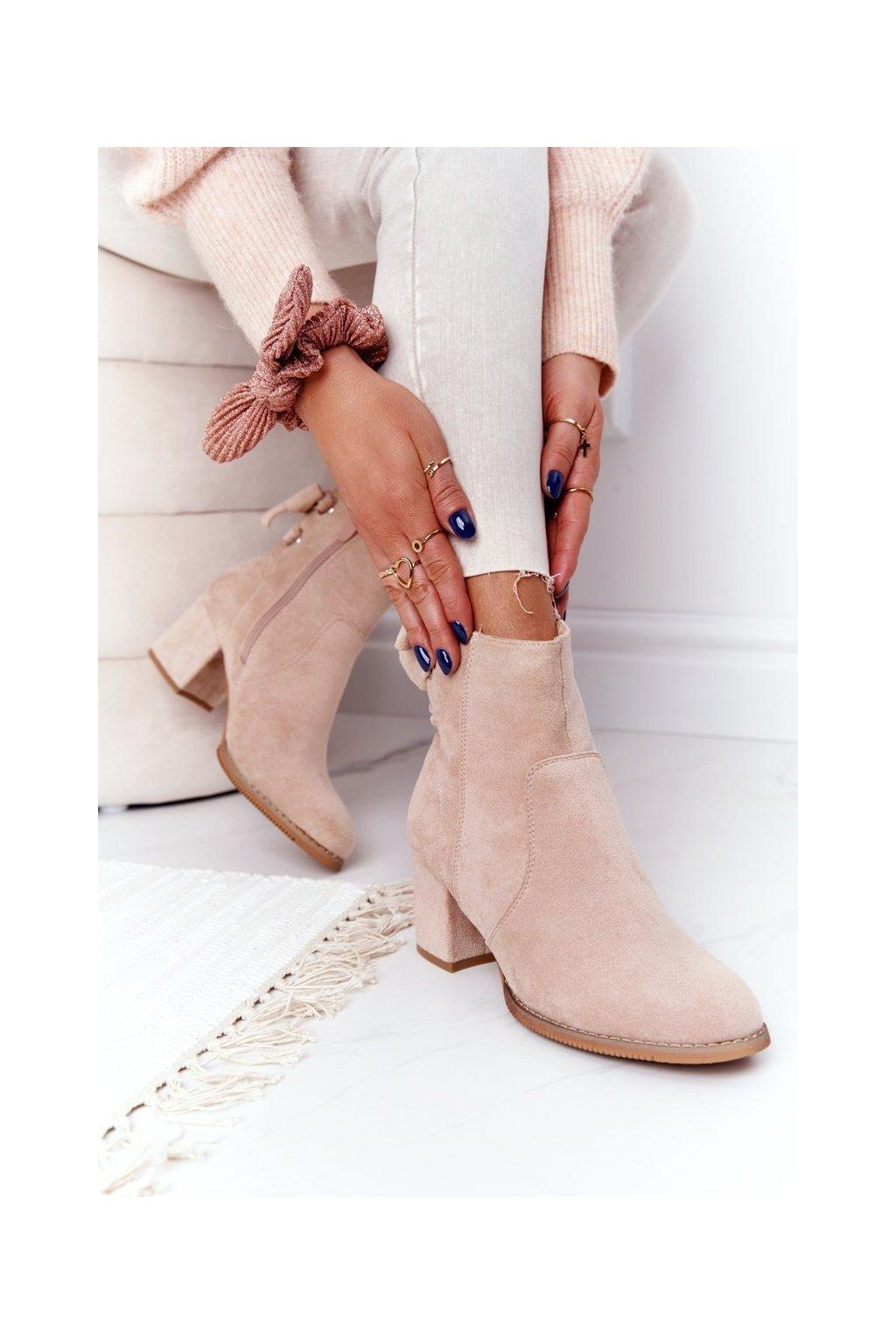 Členkové topánky na podpätku farba hnedá kód obuvi 20Y8054-9 BEIGE