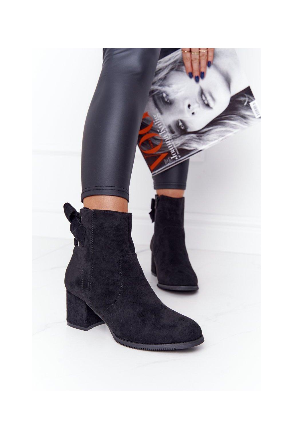 Členkové topánky na podpätku farba čierna kód obuvi 20Y8054-1 BLACK
