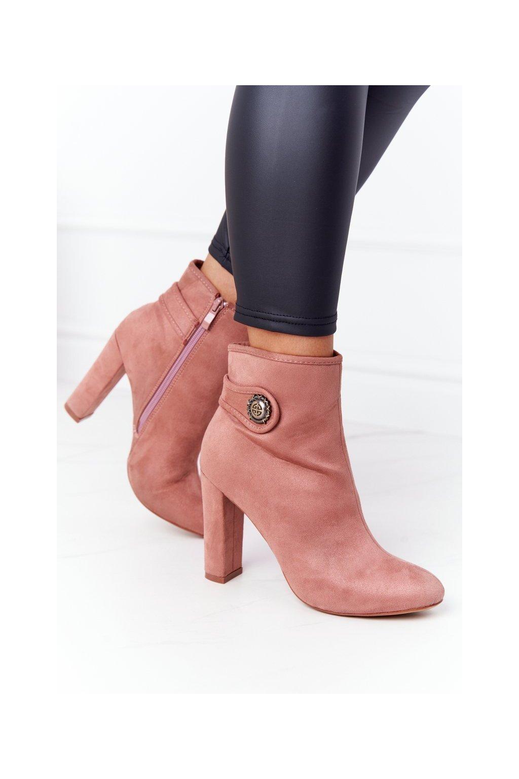 Členkové topánky na podpätku farba ružová kód obuvi CXL PINK