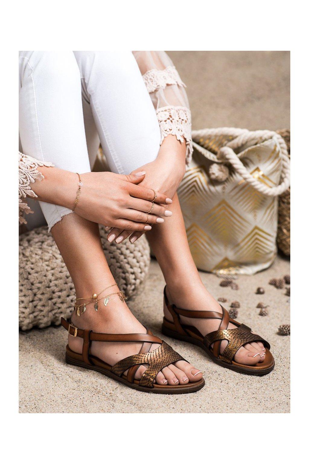 Hnedé sandále Sergio leone kod SK050BR